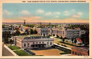 Wisconsin Kenosha View Showing Part Of Civic Center Looking West 1943 Curteich