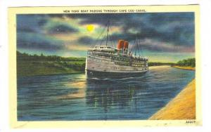 New York Boat Passing through Cape Cod Canal at Night, 30-40s