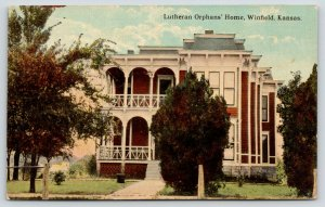 Winfield Kansas~Lutheran Orphans' Home~Trees in Yard~1913 Postcard