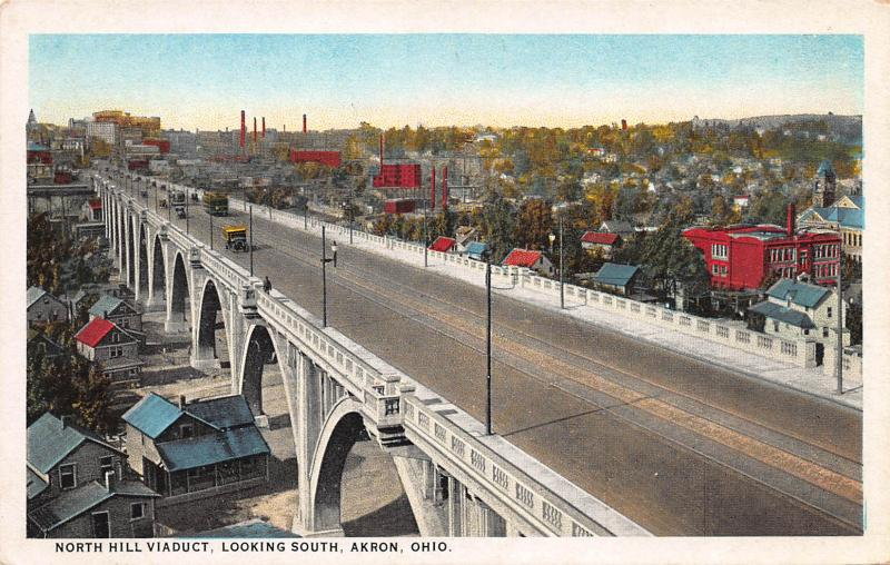 North Hill Viaduct, Looking South, Akron, Ohio, Early Postcard, Unused