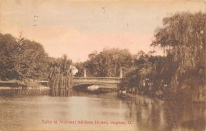 Dayton Ohio~National Soldiers Home Lake~Weeping Willow Tree~1923 Kraemer Art PC