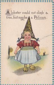 Dutch Girl Wearing Dunce Cap 1913