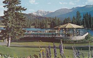 Flowers, Swimming Pool, View From Jasper Park Lodge, Mt. Edith Cavell, Jasper...