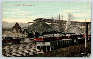 Cleveland Ohio~Iron Industry~Loaded Railroad Cars~Mounds~Smokestack~c1910 PC