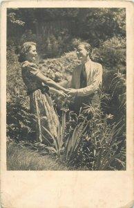 Couple lovers semi-modern photo postcard