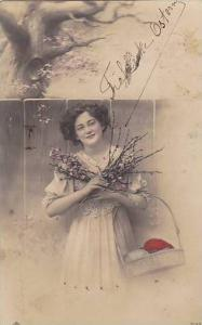 RP; Tinted; Woman with Easter Basket , PU-1908