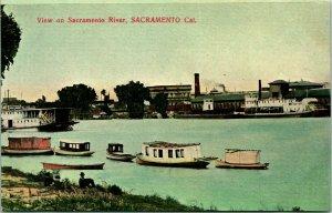 Vtg 1910s Postkarte - Blick Auf Sacramento Fluss, Kalifornien Paddleboats