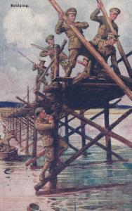British Army Bridging Crossing A Bridge WW1 Military Gale & Polden Postcard