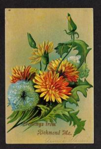 ME Greetings from RICHMOND MAINE Postcard PC Flowers