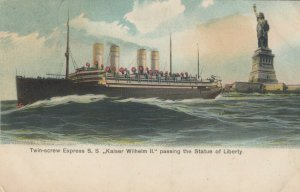 Ocean Liner Kaiser Wilhelm II Passes Statue of Liberty , NYC , 1907