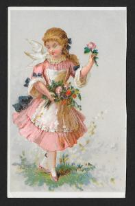 VICTORIAN TRADE CARD American Tea Co Pretty Lady in Pink Dress, Flowers & Dove