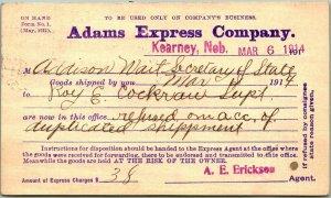 1914 Kearney, Nebraska Business Postcard ADAMS EXPRESS COMPANY w/ Cancel