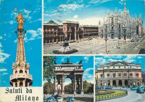 Postcard Italy Milan Saluti da Milan Arc statue