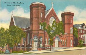 Cathedral of the Epiphany Sioux City Iowa IA Linen Postcard
