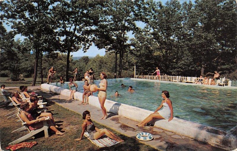 Buck Hill Falls PA~Starlit Lodge Pool~Bathing Beauties Pose~Beach Ball~1958 PC
