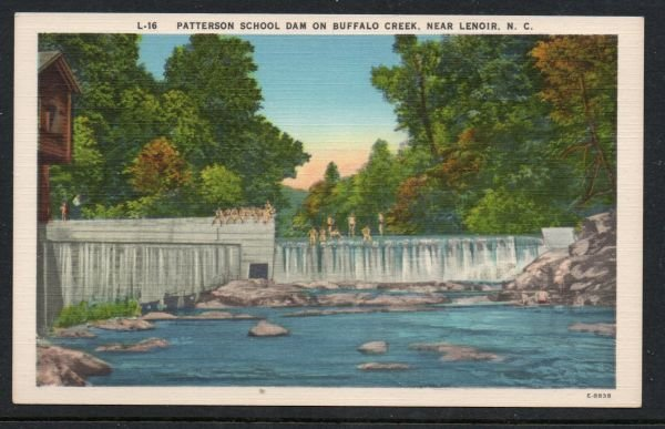 North Carolina colour PC Patterson School Dam near Lenoir, N.C.  unused