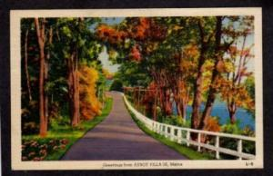 ME Greetings from ABBOT VILLAGE MAINE Postcard Linen