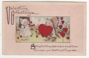 P129 JLs 1915 antique valentines postcard children hearts