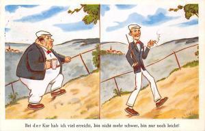 Bei der Kur hab ich viel erreicht Comic Fat Slim Man, Drink, Cigarette 1962