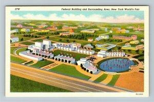 1939 New York World's Fair - Aerial View of Federal Building - Linen Postcard
