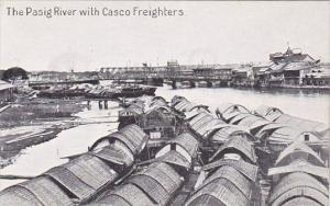 Philippines The Pasig River With Casco Freighters