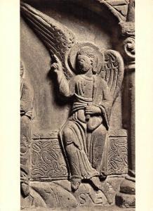 Taufestein Freckenhorst im W. Detail Engel am Grabe, Aus Hoellenfahrt Christi