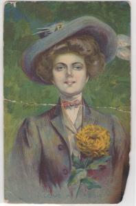 I Love A Lassie Pretty Woman Holding Flower EH Kiefer Artist Signed Postcard
