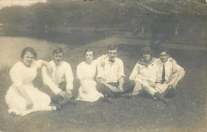 3 Couples Sitting on the Grass Indian Style~Real Photo Postcard