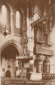 St Martins Church Brighton Organ & Interior Antique Real Photo Postcard