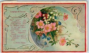 1909 Artist-Signed Language Flowers Postcard Lily / Wild Rose / Mexoja Coffee Ad