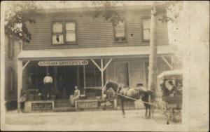 Corning NY LS Clark Grocery Store & Delivery Wagon Real Photo Postcard c1910