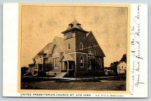 Mt Ayr Iowa~Gold Tint Postcard~United Presbyterian Church~Corner Tower c1905
