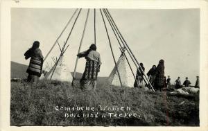 c1920 RPPC Postcard; Comanche Women Building a Teepee, Native Americana unposted