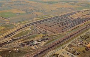 Elkhart Indiana~Electronic Railroad Yards~Aerial View~Farmland~1950s Postcard