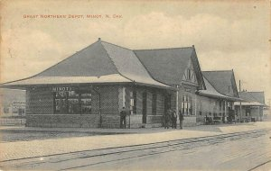 GREAT NORTHERN DEPOT Minot, North Dakota Railroad Station 1909 Vintage Postcard