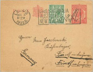 Entier Postal Stationery Postal Britain Great Britain Leeds in 1922 to Germany