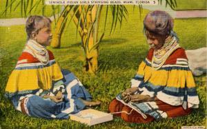 FL - Seminole Indians, Girls Stringing Beads