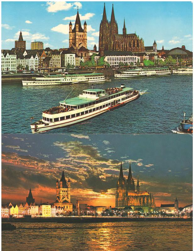 ON THE RHINE in GERMANY THE KOLN CHURCH AND WATERFRONT - LOT of 2 POSTCARDS (4)