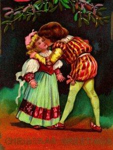 Vtg Cartolina 1910 Auguri di Natale che Bacia Sotto Vischio Lanterne Goffrato