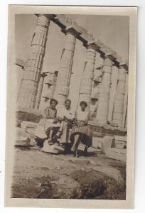 RPPC Greece Tourists Ancient Columns Real Photo Post Card