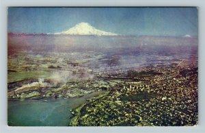 Tacoma WA- Washington, Aerial View of City Puget Sound Mt Ranier Chrome Postcard