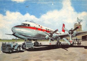 Vintage Linen Aircraft Airline E German Swissair DC-6 Postcard by R. Swoboda 93C