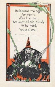 HALLOWEEN , 1910-20s ; Witch , Owl , Black cat