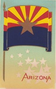 ARIZONA , State Flag , 40-50s ; Serigraph
