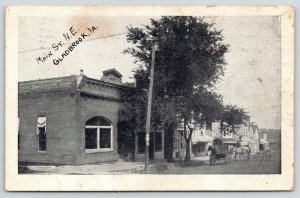 Gladbrook Iowa~Post Office? Horse & Buggy & Wagon Hitched by Main St Shops~1910