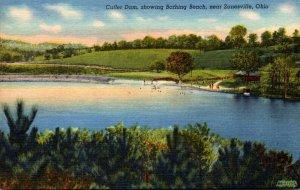 Ohio Zanesville Cutler Dam Showing Bathing Beach Curteich
