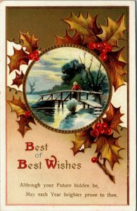 New Year~Woman on Rustic Winter Bridge~Brown Holly Berry Leaves~Gold Emboss~IAPC
