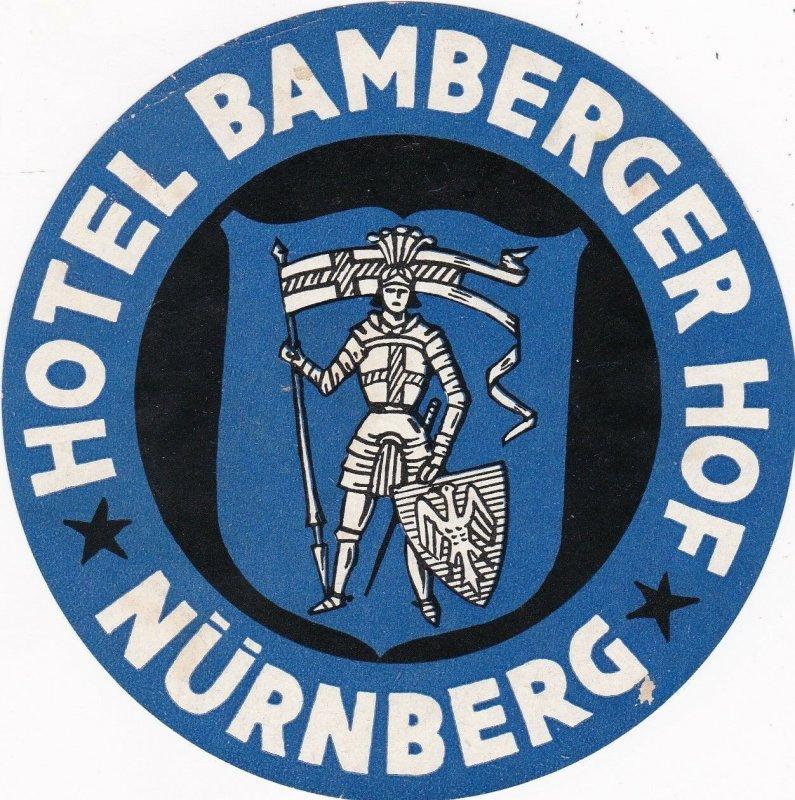 Germany Nuernberg Hotel Bamberger Hof Vintage Luggage Label sk3219