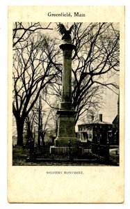 MA - Greenfield. Soldiers' Monument  (Private Mailing Card)