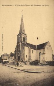 CPA  ardentes .- l'eglise de st-vincent et le monument aux morts  (146794)